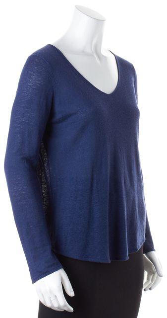 VINCE Blue Linen Long Sleeve V-Neck T-Shirt