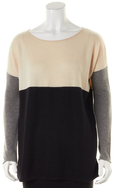 VINCE Ivory Black Gray Color Block Wool Wide Crewneck Sweater