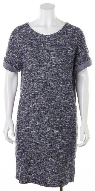VINCE Blue White Marled Knit Short Sleeve Mini Shift Dress