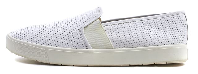 VINCE White Perforated Leather Blair Slip-On Sneakers
