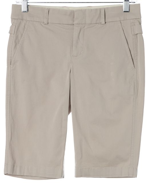 VINCE Beige Cotton Casual Mid-Rise Bermuda Walking Shorts