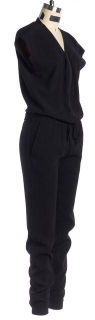 VINCE Black Solid Cap Sleeve Drawstring Center Zip Jumpsuit
