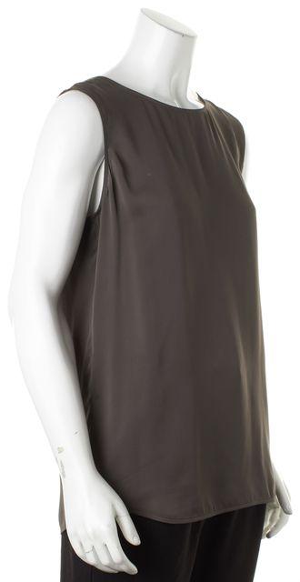 VINCE Gray Silk Sleeveless Top