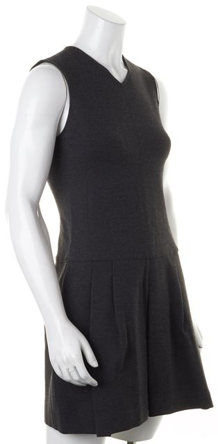 VINCE Gray Pleated Sleeveless Above Knee Fit & Flare Dress