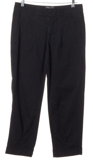 VINCE Black Front Pleat Cuffed Hem Pants