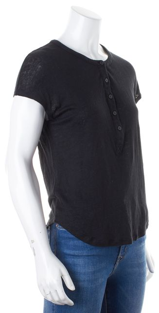 VINCE Black Linen Short Sleeve Henley Top