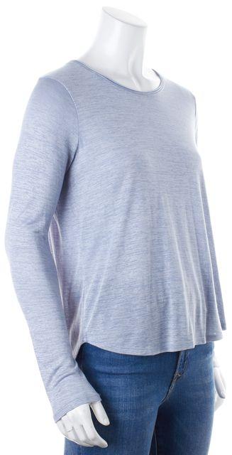 VINCE Light Blue Long Sleeve Rayon Knit Top