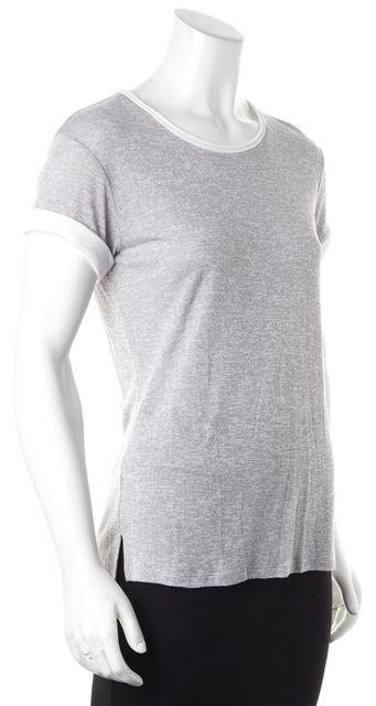 VINCE Heather Gray White Cuffs Short Sleeve Knit Top