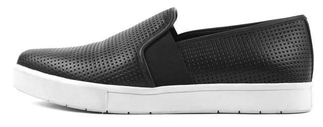 VINCE Black Perforated Leather Pierce Slip-On Sneakers