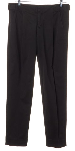 VINCE Black Stretch Cotton Cropped Trouser Dress Pants