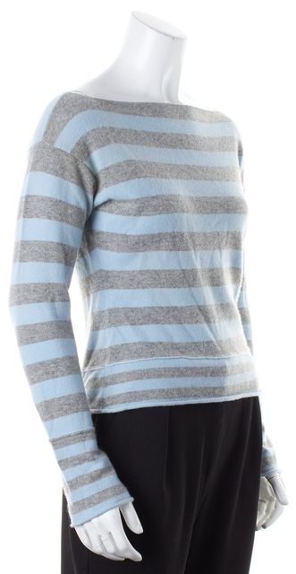 VINCE Blue Gray Striped Boat Neck Sweater
