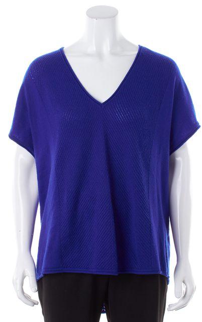 VINCE Bright Blue Cashmere Oversized V-Neck Open Knit Sweater