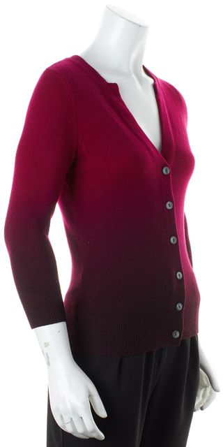 VINCE Pink Magenta Ombre Cashmere Button Front Cardigan