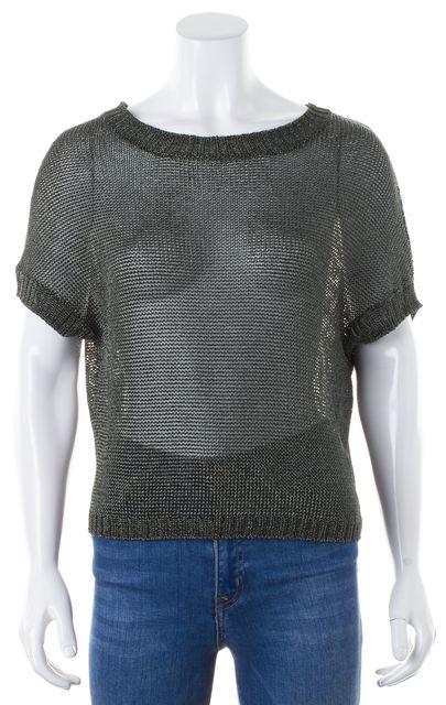VINCE Metallic Green Cap Sleeve Crewneck Sheer Knit Top