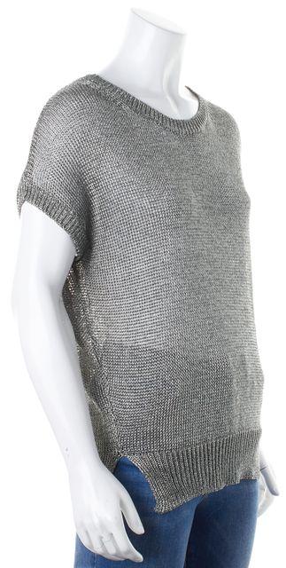 VINCE Silver Metallic Cap Sleeve Crewneck Sheer Knit Top