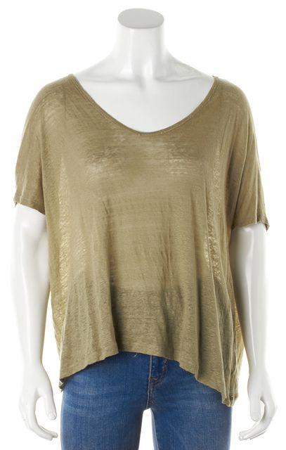 VINCE Brown Linen Knit Top