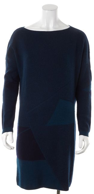 VINCE Dark Teal Green Geometric Wool Cashmere Sweater Dress