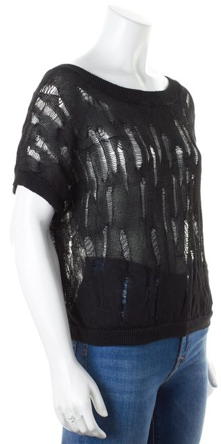 VINCE Black Open Distressed Crewneck Semi Sheer Knit Top