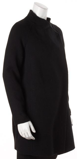 VINCE Black Wool Back Sleeve Knit Panel Coat