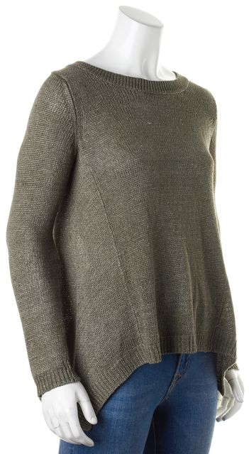 VINCE Olive Green Long Sleeve Crewneck Knit Top