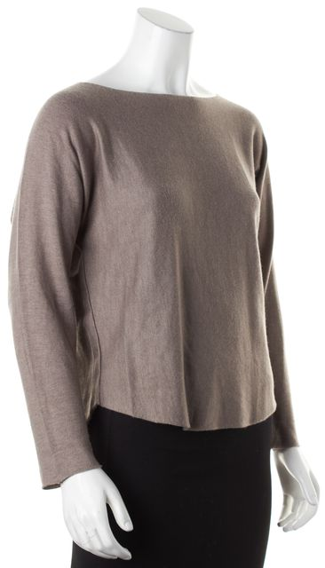 VINCE Brown Long Sleeve Boat Neck Knit Top