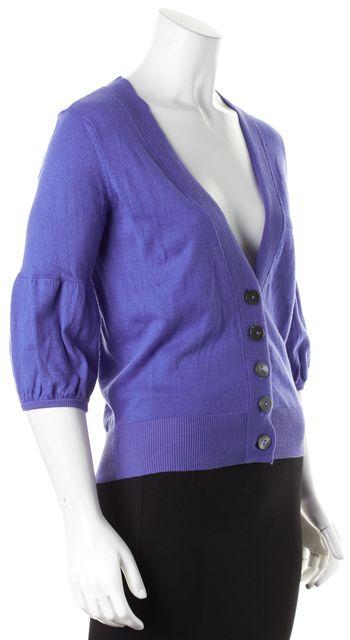 VINCE Periwinkle Purple Cotton Cashmere Knit V-Neck Cardigan Sweater