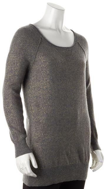 VINCE Gray Gold Shimmer Cashmere Crewneck Sweater