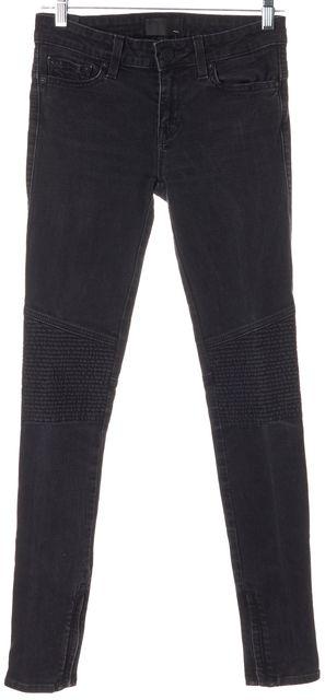 VINCE Black 5 Pocket Moto Ankle Zip Skinny Jeans