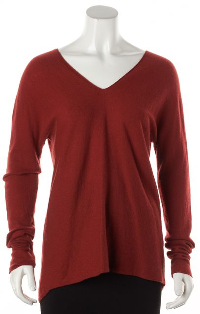 VINCE Red Wool Cashmere Knit V-Neck Sweater