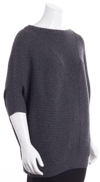 VINCE Gray Ribbed Medium Knit Crewneck DolmanSweater