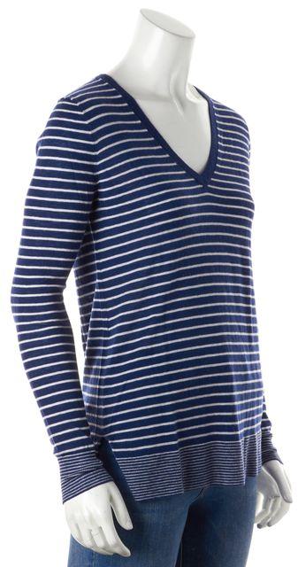 VINCE Blue Striped Wool V-Neck Sweater
