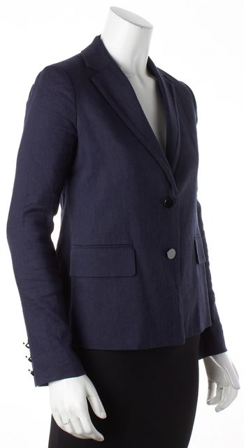 VINCE Blue Chambray Linen Two Button Blazer