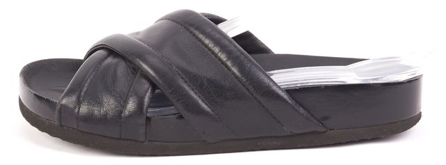 VINCE Black Leather Criss-Cross Slides Sandals