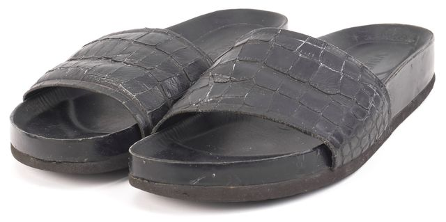 VINCE Black Crocodile Textured Leather Strap Slides Sandals
