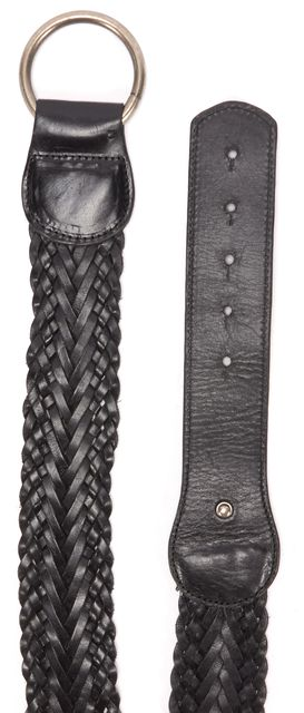 VINCE Black Fold Over Clasp Woven Leather Belt