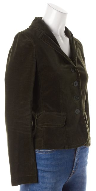 VINCE Forest Green Long Sleeve Single Breast Corduroy Button Close Blazer