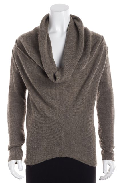 VINCE Brown Long Sleeve Wool Cowl Neck Asymmetric Hemmed Sweater