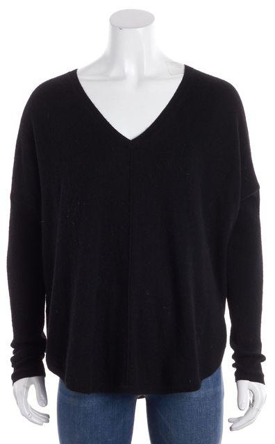 VINCE Navy Blue Thin Knit Cashmere Long Sleeve V-Neck Sweater