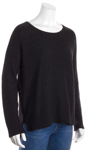 VINCE Black Wool Knit Long Sleeve Scoop Neck Asymmetric Hem Sweater