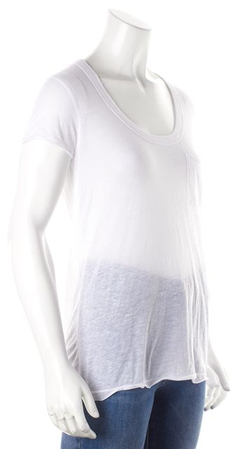 VINCE White Bust Pocket Detail Scoopneck Knit Top