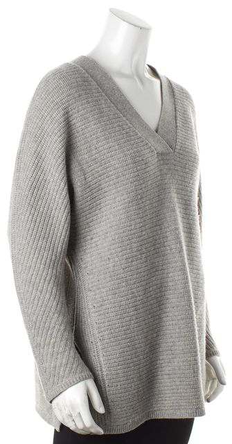 VINCE Gray Wool V-Neck Sweater