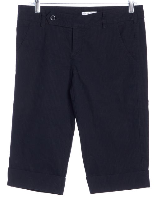 VINCE Black Cuffed Bermuda, Walking Shorts