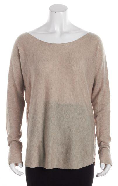 VINCE Heather Beige Wool Slouchy Boat Neck Sweater