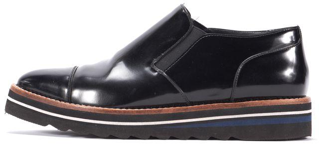 VINCE 'Alona' Glazed Leather Slip On Almond Toe Platform Oxford- Black 7.5