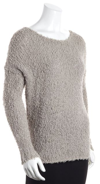 VINCE Gray Shaggy Boat Neck Sweater