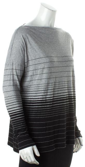 VINCE Black Gray Striped Knit Top