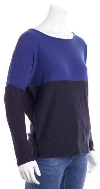 VINCE Navy Blue and Admiral Blue Boat Neck Sweater