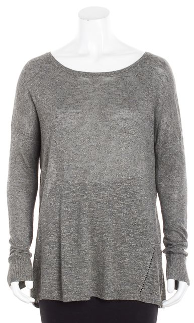 VINCE Heather Gray Open Boatneck Knit Top
