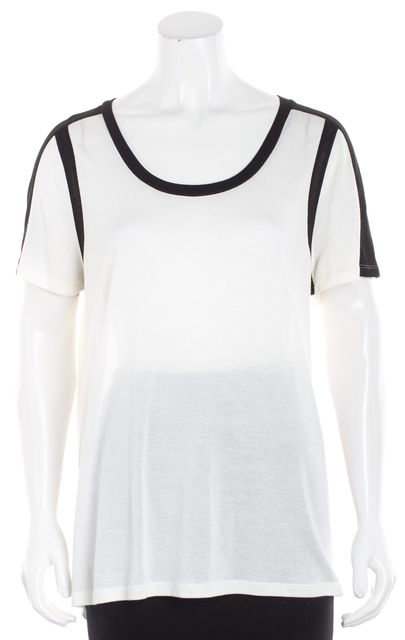 VINCE White Black Trimmed Neckline Knit Top