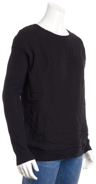 VINCE Black Wool Crewneck Chiffon Layered Sweater